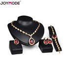 Women's Crystal Ruby Plated Pendant Necklace Earrings Bracelet Ring Jewelry Set