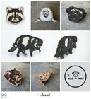 Wood brooch badge pin Raccoon Panther Seal Bird Pug Dog Waf-Waf Russian design
