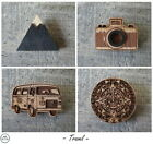 Wood brooch badge pin Mountain Camera Hippie bus Aztec calendar Waf-Waf Russia