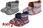 Mens Coolers Fairisle Fair Isle Plush Faux Fur Lining Knitted Slipper Boots