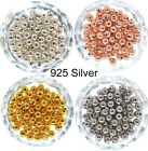 Genuine 925 Sterling Silver Round Ball Beads for Jewelry Making Findings 2-8MM