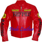 Ferrari Biker Motorcycle Racer Genuine Cowhide Leather Rider Jacket with Armour