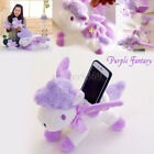 Purple Unicorn Kids Plush Soft Toy + Phone Stand +Wing Fly Cute Horse Xams Gift