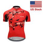 New Mens Cycling Uniform Jersey Short Sleeve Shirts Bicycle Full Zipper Tops Red