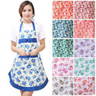 Women Kitchen Home Restaurant Cooking Floral Print Apron Bib Dress Pocket Hot