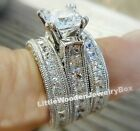 925 Sterling Silver Pear Tear Drop Diamond cut 2pc Engagement Ring Wedding Set