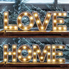28 Warm White LED Sign Lights Battery Operated Wooden Home Love Decoration Light