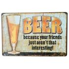 VINTAGE STYLE COOL Metal Tin Decor Sign BEER Wine Plague Beverage Board for pub