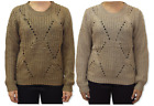 WOMENS RIBBED KNIT JUMPER RIB HOLE KNITTED CURVED HEM SWEATER PULLOVER - 2781