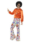 60s Groovy Flared Trousers, Mens Halloween Party Fancy Dress Costume Accessory