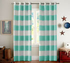 Nautical Stripe Thermal Insulate Blackout Curtains Kids Room Grommet 2 Panels