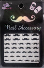 MUSTACHE BLACK 3D NAIL ART STICKERS for Movember/Parties/Fancy Dress/Charity