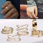 Punk Charm 6Pcs/Set Midi Above Knuckle Ring Band Gold Plated Tip Finger Stacking