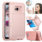 For Samsung Galaxy S8 S8+ Hybrid Shockproof Heavy Duty Card Wallet Case Cover