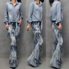 Womens Casual Washed Tassels Flared Jeans Motorcycle Bell-bottoms Pants Trousers