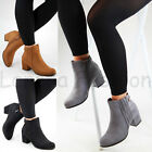 New Womens Ladies Ankle Boots Mid Block Heel Zip Comfy Casual Shoes Sizes 3- 8