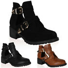 WOMENS CUT OUT DESIGN LADIES BUCKLE GRIP SOLE HEELED ANKLE BOOTS SHOES SIZE 3-8