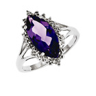 925 Sterling Silver Amethyst and Diamond Marquise Faceted Solitaire Ring