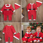 Baby Boys Girls First Christmas Santa Claus Xmas Costume Romper Hat Outfit Cloth