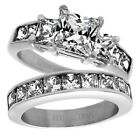 Closeout! Stainless Steel 4.65 Carat CZ Engagement Ring 2-Piece Wedding Band Set