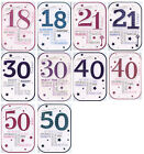 MALE FEMALE 18TH 21ST 30TH 40TH 50TH GLITTERY OR SHINNY BIRTHDAY CARDS 1STP&P