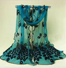 Women Ladies Peacock Lace Voile Neck Scarf Shawl Stole Scarves Soft Wrap