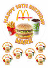 "PERSONALISED MCDONALDS FAST FOOD 7.5"" & 6 X 2"" ROUND EDIBLE TOPPERS CAKE CUPCAKE"
