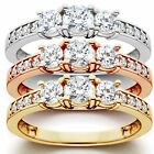 1 ct 3-Stone Diamond Engagement Ring in 14k White, Yellow, Rose Gold