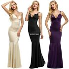 backless dresses uk - Women Strap V Neck Backless sleeveless Bodycon Fill-length Dress fullgown MY8L