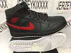 2017 AIR JORDAN 1 BRED MID MENS Anthracite Gym Red White SHOES 554724 045 105
