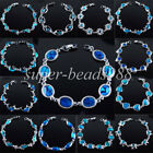 "Free shipping New Zealand Abalone Blue Shell Beads Gem Bracelet 7"" Strand SBK132"