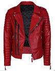 Men's Quilted Red Faux & Sheep Leather Slim fit Motorcycle Biker Jacket