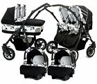 Baby- Pushchair Pram Tandem Sport- Twin  Double Travel System + 2x Car Seat Free