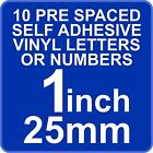10 x 1 inch 25mm Self Adhesive Vinyl Letters or Numbers