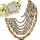 Miami Cuban Link Chain W. 1ct Diamond Clasp 14k 18k Gold Plated Stainless Steel фото