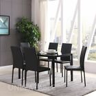 Glass Dining Table Set With 6 or 4 Chairs Black or Grey Faux Leather Chair New