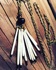 Antique Bronze Polished Onyx Quill Necklace