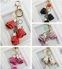 Creative Leather Rose Flower Pendant Keyring Car Keychain Girl Bag Accessory WCC