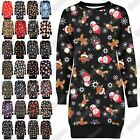 New Ladies Reindeer Santa Xmas Print Fleece Knitted Novelty Jumper Shift Dress