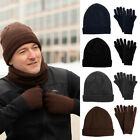 Mens Insulated Winter Hat & Gloves Set Warm Soft Fleece Beanie Toboggan Knit Cap