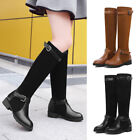 Fashion Women's Cool Warm Winter Flat Sole PU Leather Keel Height Boots Shoes