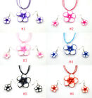 Wholesale 1Set Multicolor Polymer Clay FIMO Flower Silk Chain Necklace+Earrings