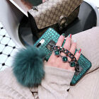 Diamond Chain Fluffy Ball Crocodile Leather Case Cover For iPhone X 8 7 6S Plus