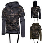 1pc Men Fashion Casual Long Sleeve Hooded Fake Two Sport Camouflage Tops T-Shirt