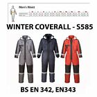 Portwest Hi Vis Waterproof Padded Insulated Winter Coverall Boiler Suit New S585