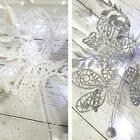 Glitter Butterfly Spray christmas tree Decoration Silver or White Leaf Glittery