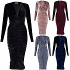 New Ladies Velvet Ruched long Midi Dress