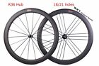 R36 50mm Clincher carbon bicycle road bike wheels cycling wheelset 18 21 holes