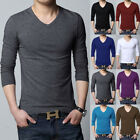 Hot Men's Fashion Muscle Slim Fit Long Sleeve V Neck Casual Shirt Cotton Tops