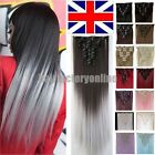 Real Thick Clip In Human Hair Extensions Full Head UK Hair Extentions Ombre New